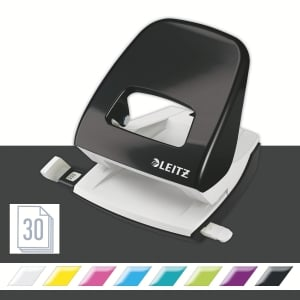 Leitz NeXXt Series 5008 Metal 30 Sheet 2 Hole Punch Black