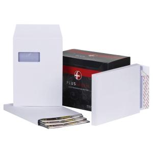 PLUS FABRIC C4 GUSSET WINDOW WHITE ENVELOPES - BOX OF 100