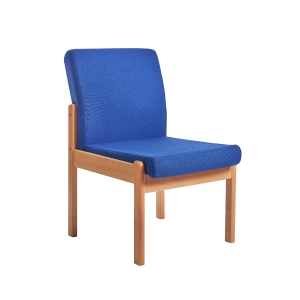WOOD FRAMED RECEPTION CHAIR - BLUE