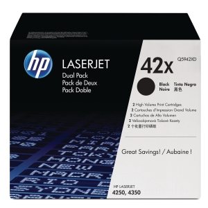 HP 42X 2-PACK HIGH YIELD BLACK ORIGINAL LASERJET TONER CARTRIDGES (Q5942XD)