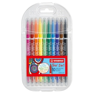 STABILO TRIO 2 IN 1 DOUBLE END PEN ASSORTED - BOX OF 10
