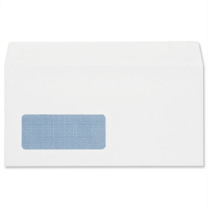 LYRECO ENVELOPE DL 90 GRAM 100 PERCENT RECYCLED WITH WINDOW WHITE - BOX OF 1000