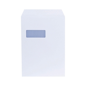 LYRECO ENVELOPES C4 90 GRAM 100 PERCENT RECYCLED WINDOW WHITE - BOX OF 250