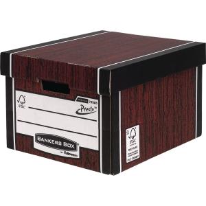 Fellowes Bankers Box Premium Storage Box (Woodgrain) - Pack of 10