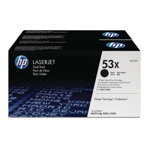 HP 53X 2-Pack High Yield Black Original Laserjet Toner Cartridges (Q7553XD)