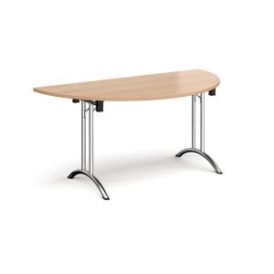 Semi Circular Folding Table Beech