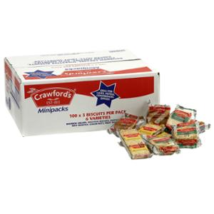 CRAWFORDS MINIPACKS - BOX OF 100 PACKS OF 3 BISCUITS