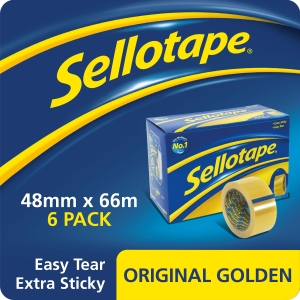 Sellotape Original Golden Tape 48mm X 66M -Pack of 6