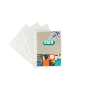 Elba A4 Embossed Punched Pockets, Clear Spine, Pack of 100