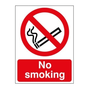 NO SMOKING SIGN 150 X 200MM VINYL