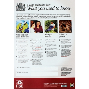 HEALTH AND SAFETY LAW POSTER 420 X 595MM UNFRAMED