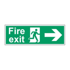 FIRE EXIT RIGHT SIGN 450 X 150MM VINYL