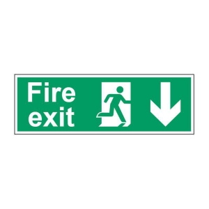 FIRE EXIT DOWN SIGN 450 X 150MM PP