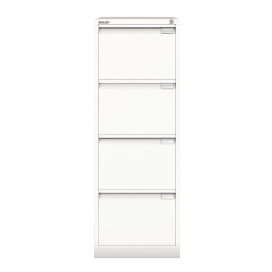 BISLEY WHITE 4-DRAWER FOOLSCAP FILING CABINET