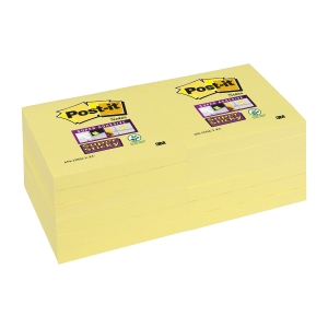 POST-IT SUPER STICKY CANARY YELLOW 76MM X 76MM CANARY YELLOW - PACK OF 12