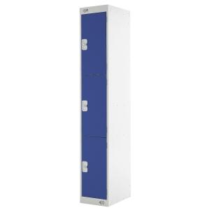 Locker 1800H X 300W X 450D, 3-Door, Blue