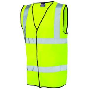 High Visibility Sleeveless 2 Band Waistcoat Yellow Small