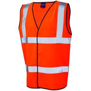 High Visibility Sleeveless 2 Band Waistcoat Orange Large