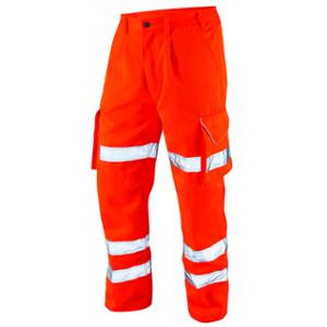 HIGH VISIBILITY POLY COTTON CARGO TROUSERS ORANGE 36R