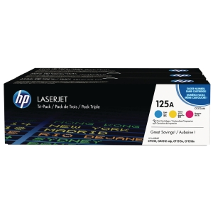 HP 125A 3-Pack Cyan/Magenta/Yellow Original Laserjet Toner Cartridges (CF373AM)