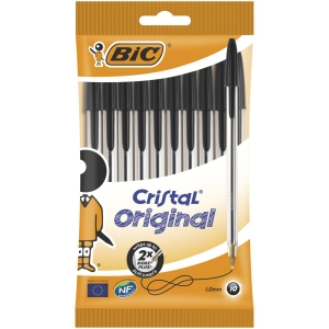 Bic Cristal Ball Point Pen 0.4mm Black - Pack Of 10