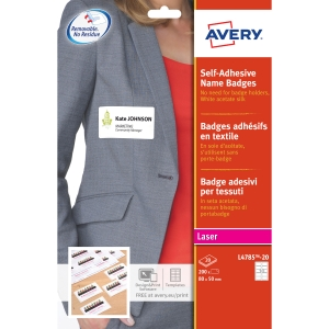 Avery L4785-20 Self Adhesive Name Badges, 80 x 50 mm, 10 Labels Per Sheet