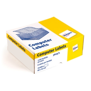 AVERY 5623-1 WHITE COMPUTER LABELS 1/10   VERTICAL SPACING 89X37MM - BOX OF 1000