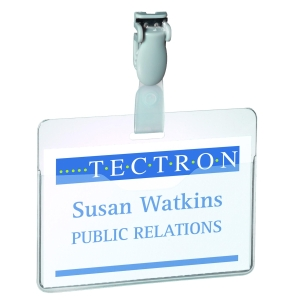 Durable Visitor/Security Badge With Clip 60X90mm Transparent - Pack of 25