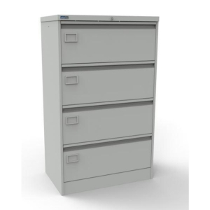 METAL 4 DRAWER SIDE FILER CABINET GREY