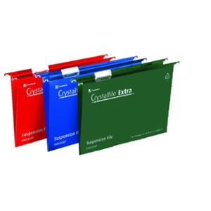 REXEL CRYSTALFILE GREEN FOOLSCAP PP SUSPENSION FILES V BASE - BOX OF 25