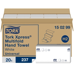 TORK 150299 H2 WHITE MULTIFOLD HAND TOWEL 2 PLY - PACK OF 20 SLEEVES OF 237