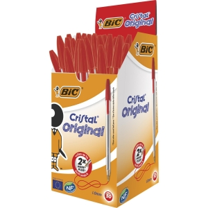 Bic Cristal Ball Point Red Pens 0.7mm Line Width - Box of 50