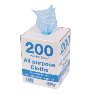 BLUE 37CM X 22CM ALL PURPOSE CLOTH - DISPENSER OF 200