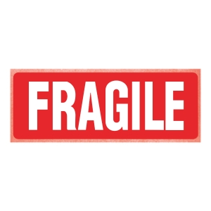 Printed Labels Fragile 150X100mm Pk250