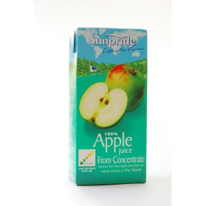 SUNPRIDE PURE 1 LITRE RESEAL APPLE JUICE - PACK OF 12