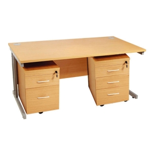 Beech Desk With 2 And 3 Drawer Predestals 1600mm