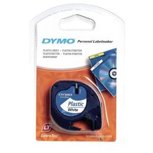 DYMO Letratag Plastic Labels, 12mm x 4m Black On White