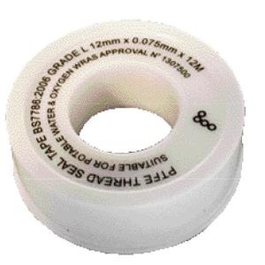 PTFE Pipe Sealing Tape 12mm x 12m White