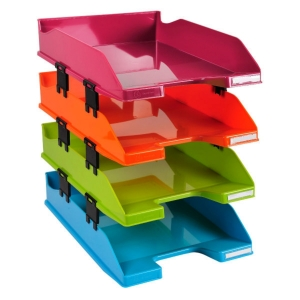 IDERAMA COMBO MIDI LETTER TRAY, 347X255X244MM - ASSORTED COLOURS, SET OF 4