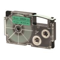 卡西歐 顏色標籤帶 XR-9GN1 9毫米 x 8米 黑色字綠色底