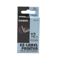 卡西歐 顏色標籤帶 XR-12X1 12毫米 x 8米 黑色字透明色底