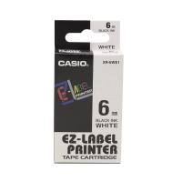 卡西歐 顏色標籤帶 XR-6WE1 6毫米 x 8米 黑色字白色底