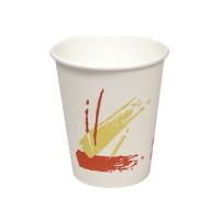 彩紅圖案8安士熱飲紙杯 - 50個裝