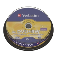 Verbatim DVD+RW 4.7GB 可重寫多功能影音光碟 - 筒裝10隻