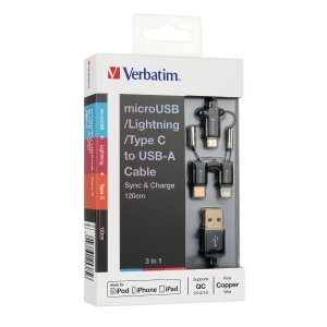 Verbatim 3-in-1 Sync & Charge Cable Black