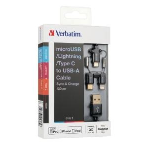 Verbatim 120厘米 三合一充電傳輸線