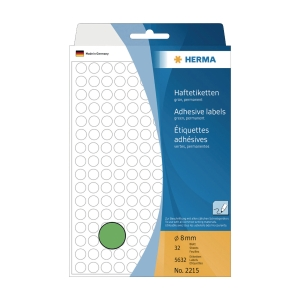 HERMA 顏色標籤圓形 2215 8毫米 綠色 每盒5632個標籤