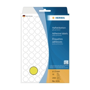 HERMA 顏色標籤圓形 2231 13毫米 黃色 每盒2464個標籤