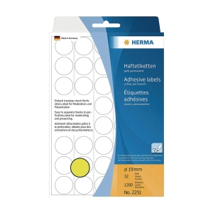 HERMA 顏色標籤圓形 2251 19毫米 黃色 每盒1280個標籤