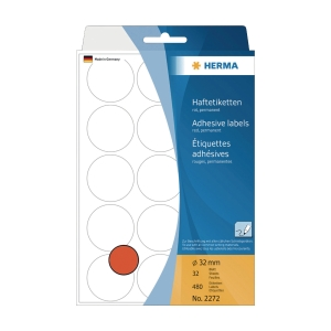 HERMA 顏色標籤圓形 2272 32毫米 紅色 每盒480個標籤